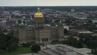 DX0002_166_016 - 5.7K stock footage aerial video of the Iowa State Capitol seen during descent, Des Moines, Iowa