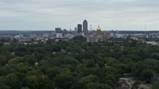 DX0002_166_017 - 5.7K stock footage aerial video of a wide stationary view of the city's skyline and capitol, Downtown Des Moines, Iowa