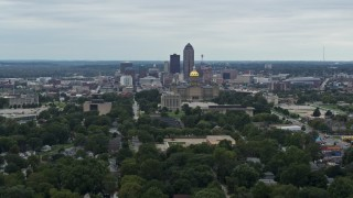 DX0002_166_019 - 5.7K stock footage aerial video of ascending with a wide view of the city's skyline and state capitol, Downtown Des Moines, Iowa