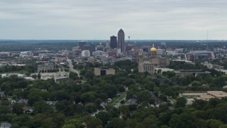 DX0002_166_020 - 5.7K stock footage aerial video of the city's skyline behind the state capitol, Downtown Des Moines, Iowa
