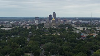 DX0002_166_022 - 5.7K stock footage aerial video of a wide view of the state capitol and the skyline of Downtown Des Moines, Iowa