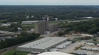 DX0002_166_023 - 5.7K stock footage aerial video orbit a grain elevator in Des Moines, Iowa
