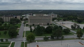 DX0002_166_030 - 5.7K stock footage aerial video orbit and approach a state government office building, Des Moines, Iowa