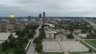 DX0002_166_040 - 5.7K stock footage aerial video of the distant skyline seen from the capitol building, Des Moines, Iowa