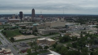 DX0002_166_044 - 5.7K stock footage aerial video orbit a hospital in Des Moines, Iowa