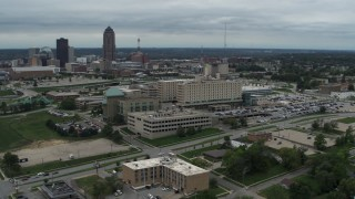 DX0002_166_045 - 5.7K stock footage aerial video orbit and fly away from a hospital in Des Moines, Iowa
