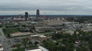 DX0002_166_047 - 5.7K stock footage aerial video approaching a hospital in Des Moines, Iowa
