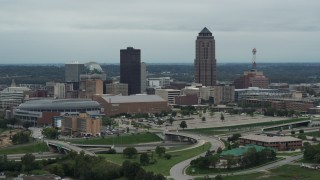 DX0002_167_002 - 5.7K stock footage aerial video of a view of the city's skyline and skyscraper in Downtown Des Moines, Iowa