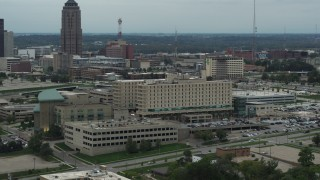 DX0002_167_007 - 5.7K stock footage aerial video reverse view of a hospital in Des Moines, Iowa