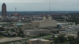 DX0002_167_008 - 5.7K stock footage aerial video orbit side of a hospital in Des Moines, Iowa