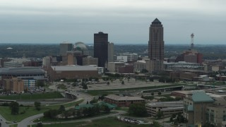 DX0002_167_013 - 5.7K stock footage aerial video flyby the city's skyline and skyscraper in Downtown Des Moines, Iowa, and descend