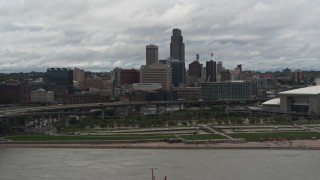DX0002_168_016 - 5.7K stock footage aerial video of the city skyline, seen from the river, Downtown Omaha, Nebraska