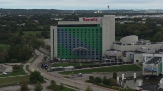 DX0002_169_017 - 5.7K stock footage aerial video orbit the hotel and casino in Council Bluffs, Iowa
