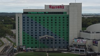 DX0002_169_018 - 5.7K stock footage aerial video a close orbit of the hotel and casino in Council Bluffs, Iowa