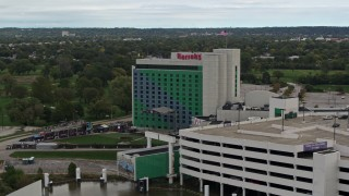 DX0002_169_036 - 5.7K stock footage aerial video circling around the hotel and casino in Council Bluffs, Iowa
