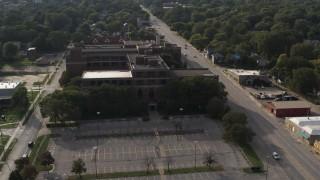 DX0002_170_017 - 5.7K stock footage aerial video approach Omaha Adult High School in Omaha, Nebraska