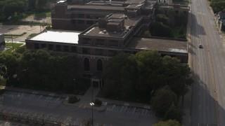 DX0002_170_018 - 5.7K stock footage aerial video orbit Omaha Adult High School in Omaha, Nebraska