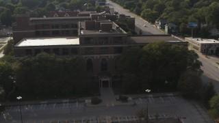 DX0002_170_019 - 5.7K stock footage aerial video of orbiting the side of Omaha Adult High School in Omaha, Nebraska