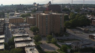DX0002_170_031 - 5.7K stock footage aerial video of orbiting an apartment building in Omaha, Nebraska