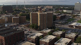 DX0002_170_033 - 5.7K stock footage aerial video approach an apartment building in Omaha, Nebraska