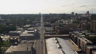 DX0002_170_035 - 5.7K stock footage aerial video of flying by Leavenworth Avenue in Omaha, Nebraska