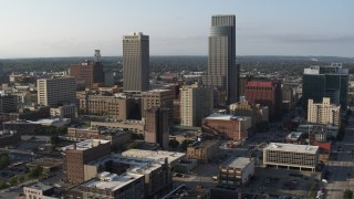 DX0002_170_039 - 5.7K stock footage aerial video static view of the city's skyscrapers in Downtown Omaha, Nebraska