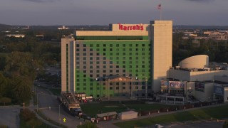 DX0002_172_022 - 5.7K stock footage aerial video approaching the hotel and casino at sunset in Council Bluffs, Iowa