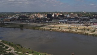 DX0002_174_020 - 5.7K stock footage aerial video a view of Downtown Sioux City, Iowa from across the river