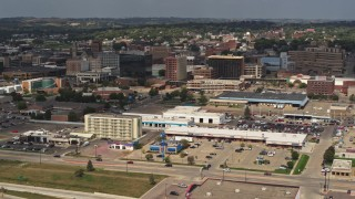 DX0002_174_033 - 5.7K stock footage aerial video slowly approach hotel and office buildings in Downtown Sioux City, Iowa