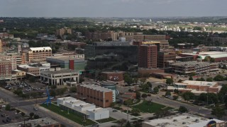 DX0002_175_003 - 5.7K stock footage aerial video of office buildings and Ho-Chunk Centre, Downtown Sioux City, Iowa