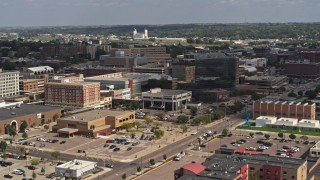 DX0002_175_006 - 5.7K stock footage aerial video ascend and approach Ho-Chunk Centre and nearby office buildings, Downtown Sioux City, Iowa