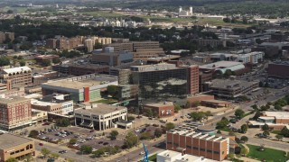 DX0002_175_007 - 5.7K stock footage aerial video flyby and away from Ho-Chunk Centre and nearby office buildings, Downtown Sioux City, Iowa