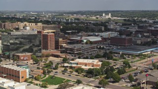 DX0002_175_008 - 5.7K stock footage aerial video convention center and office buildings, Downtown Sioux City, Iowa