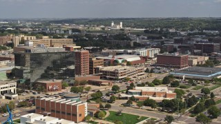 DX0002_175_009 - 5.7K stock footage aerial video of convention center, Ho-Chunk Centre, and office buildings, Downtown Sioux City, Iowa