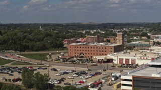 DX0002_175_012 - 5.7K stock footage aerial video slow approach to the Hard Rock Hotel and Casino, Downtown Sioux City, Iowa