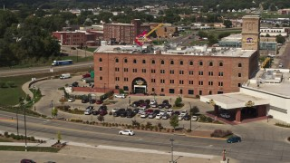 DX0002_175_014 - 5.7K stock footage aerial video flying away from the Hard Rock Hotel and Casino, Downtown Sioux City, Iowa