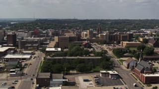 DX0002_175_016 - 5.7K stock footage aerial video of a stationary view of hospital, Downtown Sioux City, Iowa