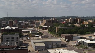 DX0002_175_018 - 5.7K stock footage aerial video flyby 5th Street while focused on hospital, Downtown Sioux City, Iowa