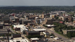 DX0002_175_019 - 5.7K stock footage aerial video office buildings and hospital, Downtown Sioux City, Iowa