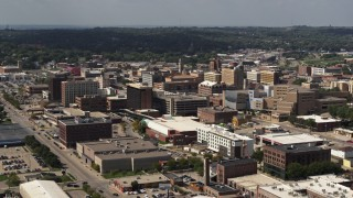DX0002_175_020 - 5.7K stock footage aerial video office buildings around convention center, Downtown Sioux City, Iowa