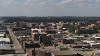 DX0002_175_027 - 5.7K stock footage aerial video flying by the downtown area of the city, Downtown Sioux City, Iowa