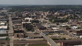 DX0002_175_028 - 5.7K stock footage aerial video a wide view of the downtown area of the city, Downtown Sioux City, Iowa