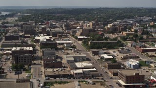 DX0002_175_029 - 5.7K stock footage aerial video approach and flyby the downtown area of the city, Downtown Sioux City, Iowa