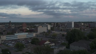 DX0002_176_033 - 5.7K stock footage aerial video the city's downtown area at twilight, Downtown Sioux Falls, South Dakota