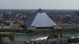 DX0002_177_020 - 5.7K stock footage aerial video of an orbit of the Memphis Pyramid in Downtown Memphis, Tennessee