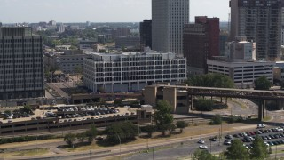 DX0002_177_032 - 5.7K stock footage aerial video of approaching city hall in Downtown Memphis, Tennessee