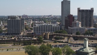 DX0002_177_036 - 5.7K stock footage aerial video of slowly orbiting city hall in Downtown Memphis, Tennessee