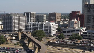 DX0002_177_037 - 5.7K stock footage aerial video of an orbit of city hall in Downtown Memphis, Tennessee