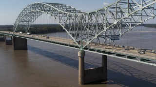 DX0002_178_028 - 5.7K stock footage aerial video of cars and trucks traveling on the bridge, Memphis, Tennessee
