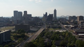 DX0002_179_038 - 5.7K stock footage aerial video of high-rise office buildings in the Downtown Memphis, Tennessee skyline